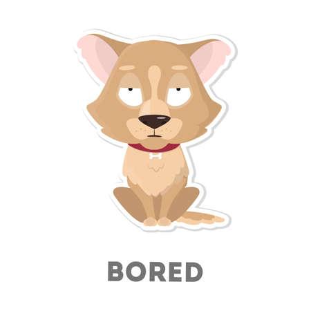 白い背景の退屈そうな犬を隔離しました。面白い漫画のキャラクター。