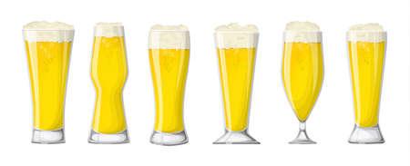 Beer glasses set. White beer or lager.