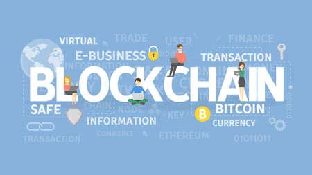 Blockchain illustratie concept. Idee van nieuwe technologie in financiën.