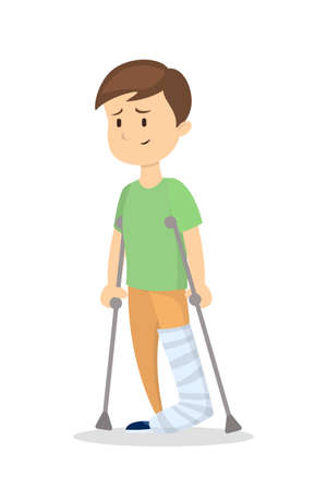 Isolated man with broken leg on white background.
