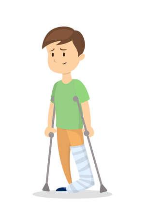 흰색 배경에 부러진 된 다리와 격리 된 남자입니다.