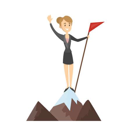 Femme avec un drapeau rouge sur la montagne.