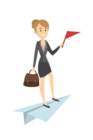 Woman on the paper plane Illustration