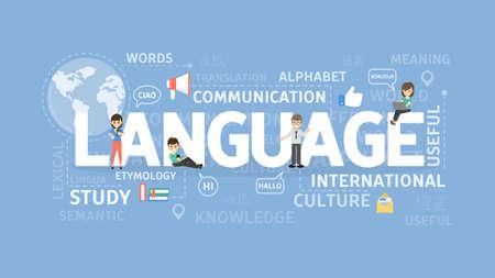 Conceito de ilustração de linguagem. Idéia de aprender línguas estrangeiras e comunicação.