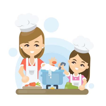 Moeder met dochter samen koken op witte achtergrond.