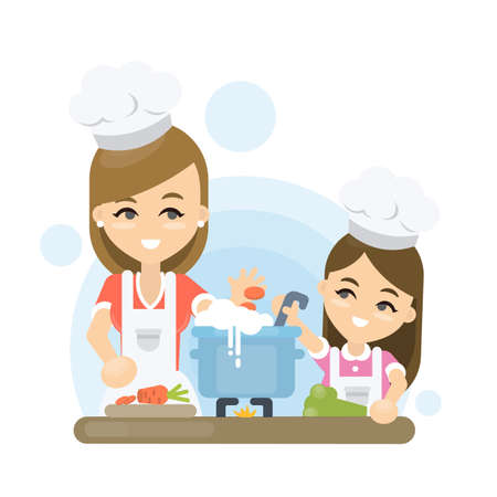 Mother with daughter cooking together on white background.