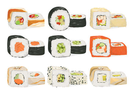 Sushi rolls set Illustration
