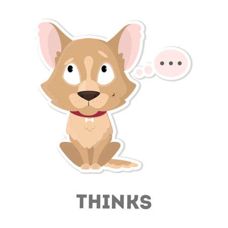 cloud: Isolated thinking dog Illustration