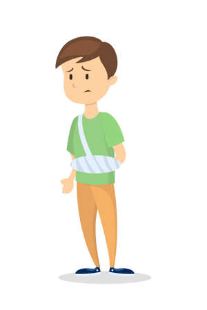 Man with broken arm. Illustration