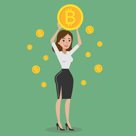 Woman with bitcoin.