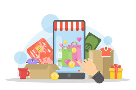 Shopping online with smartphone. Illustration
