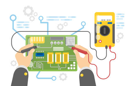 electronic components: Electronics repair service. Illustration