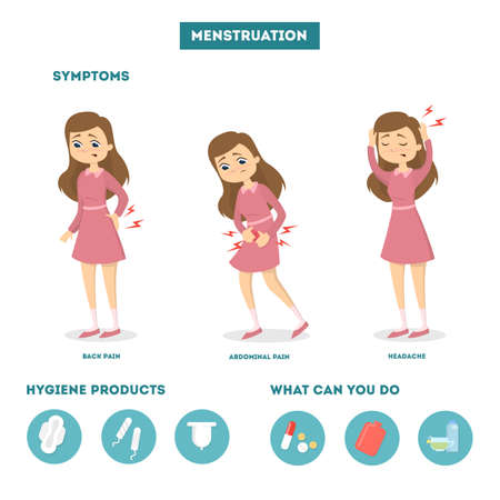 Menstrual pain illustration. Vectores