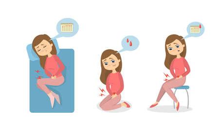 Menstruele pijn illustratie. Stock Illustratie