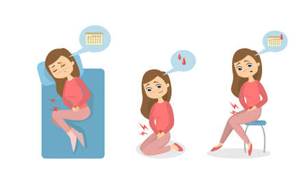 Menstrual pain illustration. Illustration
