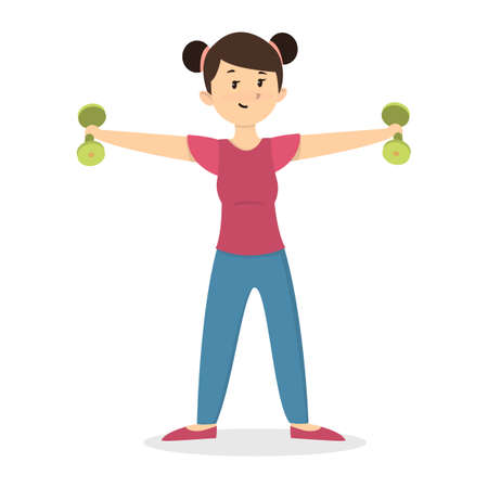 Fitness with dumbbell. Vector Illustration