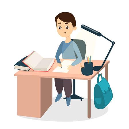 Schoolboy doing homework. Illustration