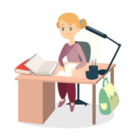 Schoolgirl doing homework.