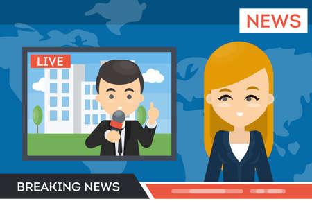 Anchor woman with man journalist Illusztráció