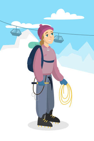 Woman mountain climbing with gear