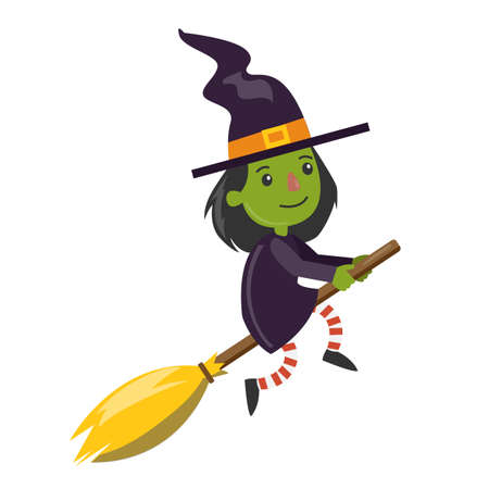 Cartoon green witch flying on broomstick on white background.
