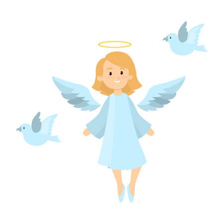 bright: Angel with pigeons. Illustration