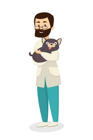 Isolated male veterinarian doctor with dog on white background.