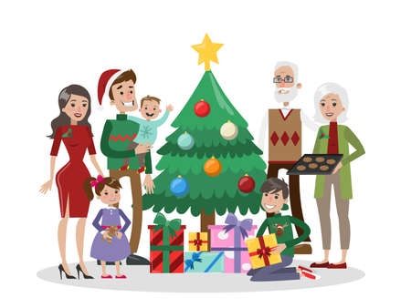 family isolated: Family with christmas tree.