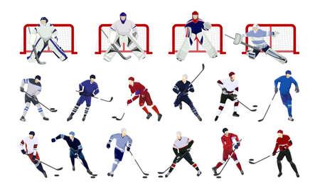 hockey goal: Hockey players set on white background. Colorful silhouettes.