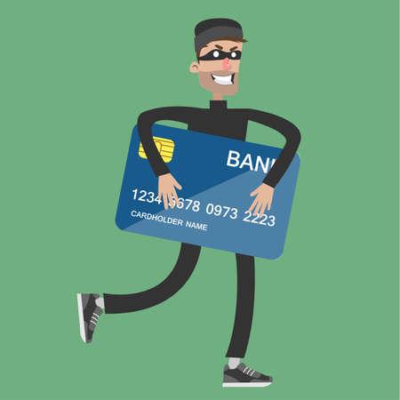 Kradzież karty bankowej. Ilustracje wektorowe