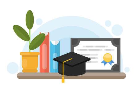 education concept: Graduation diploma certificate. Illustration