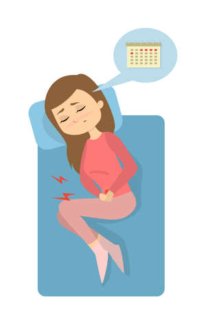 Menstrual pain illustration. Illustration
