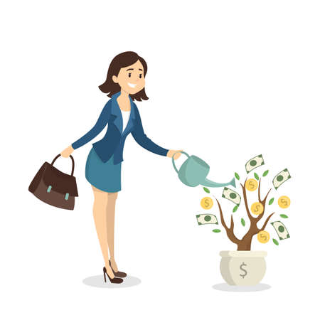 Woman watering money tree. Idea of passive income. Vectores