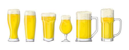 Beer glasses set. Illustration