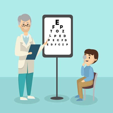 Kid with ophthalmologist. Illustration