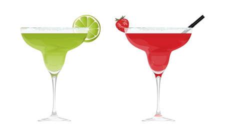 bright: Martini cocktail set. Illustration