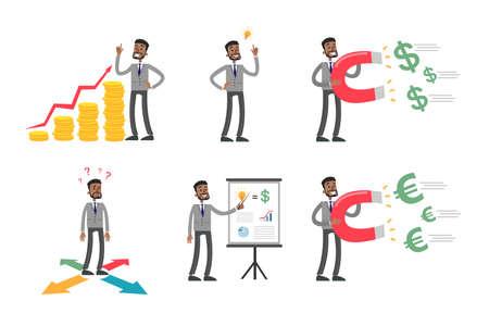 Businessman illustrations set.