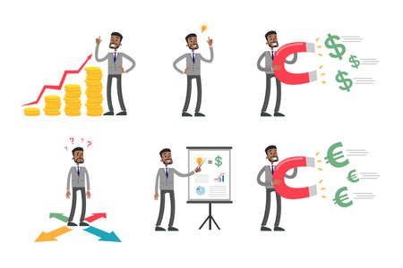 african business: Businessman illustrations set.