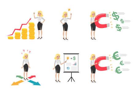 Businesswoman illustrations set.