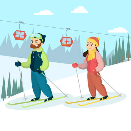 Skiers couple in snow.