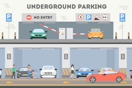 Underground parking lot. 일러스트