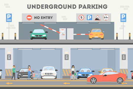 Underground parking lot. Stock Illustratie