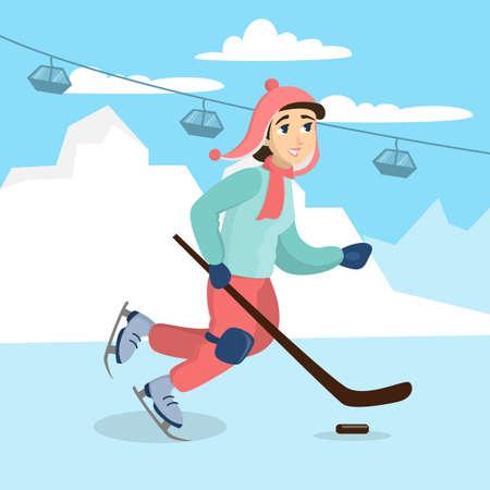 Girl playing hockey. Illustration