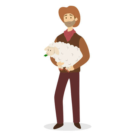 Farmer with sheep. Illustration