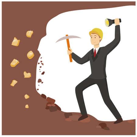 実業家金鉱掘り。  イラスト・ベクター素材