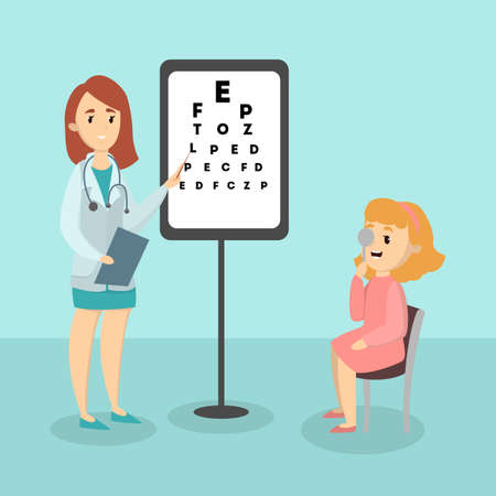 Kid with ophthalmologist. Illustration