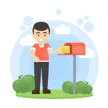 Man put letter in mailbox. Illustration