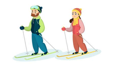雪の中のスキーヤーのカップル。