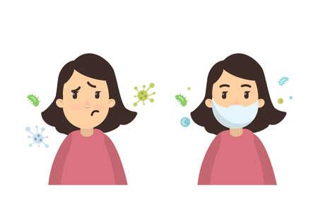 Donna con infezioni Vettoriali