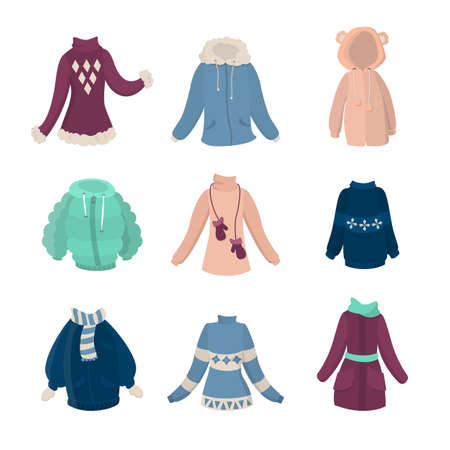 Winter clothes set. Illustration